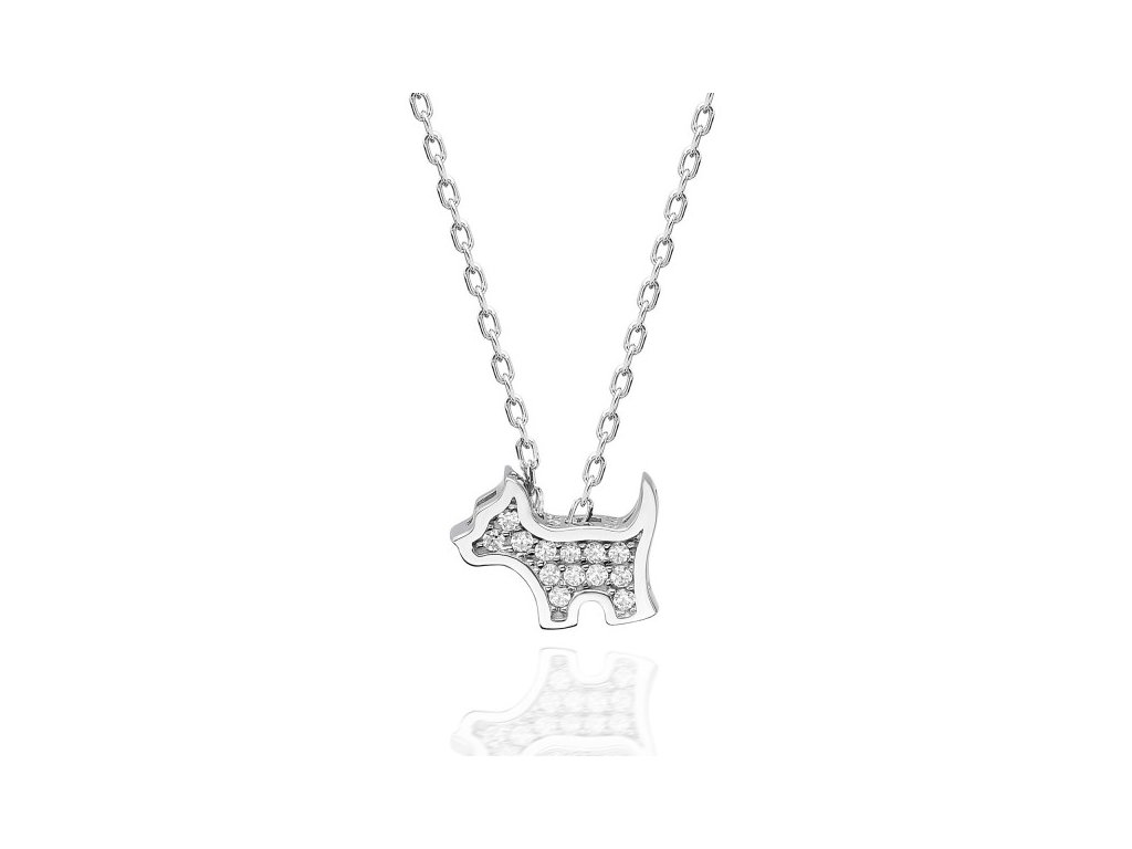 Stříbrný náhrdelník PEJSEK se Swarovski krystaly od OLIVIE