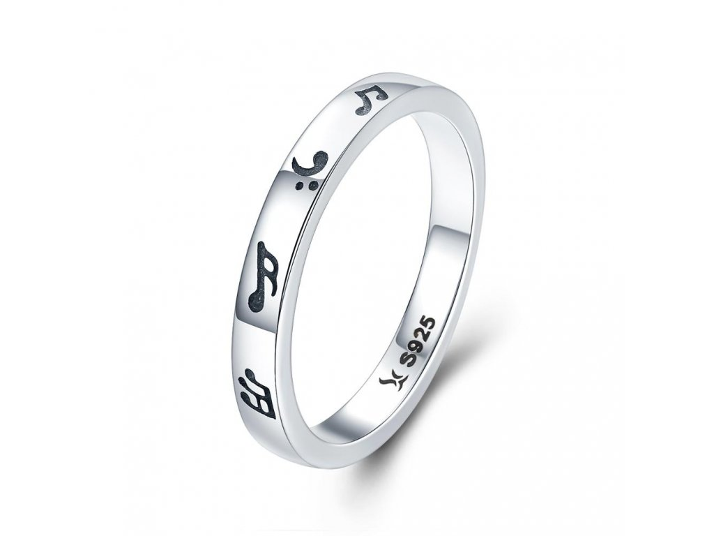 Stříbrný prsten HUDBA
