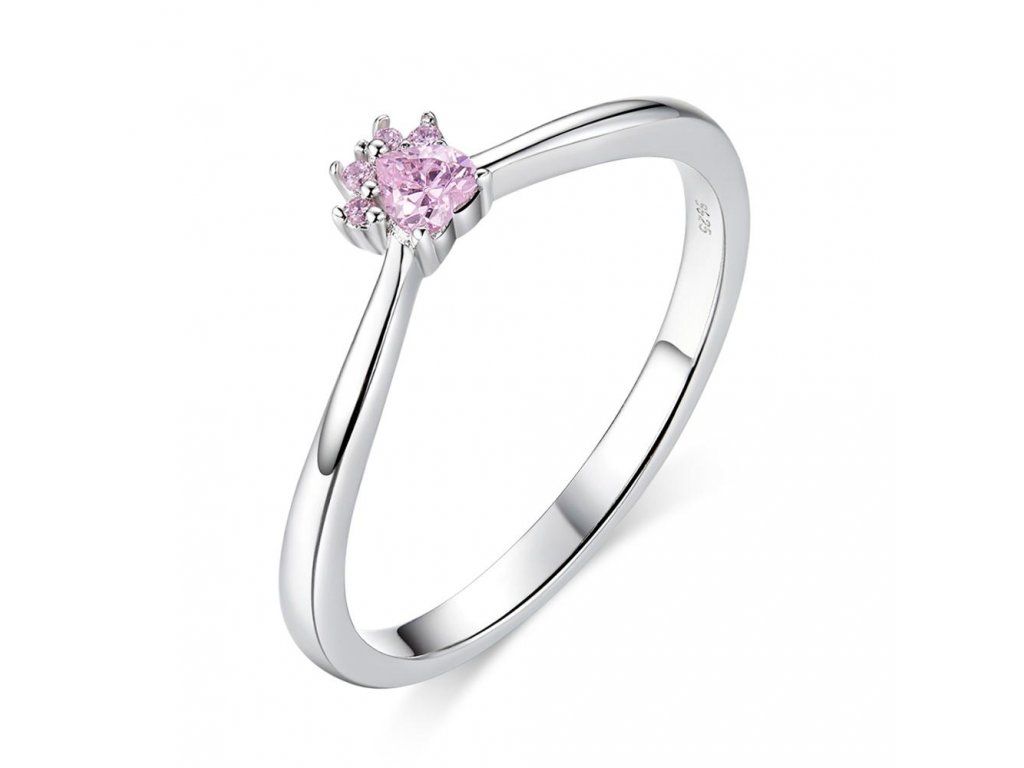 Stříbrný prsten RŮŽOVÁ TLAPKA
