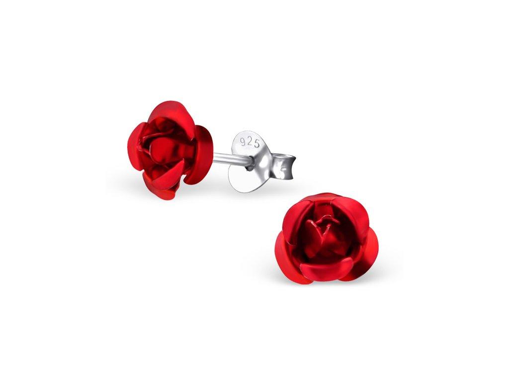 Stříbrné náušnice růže