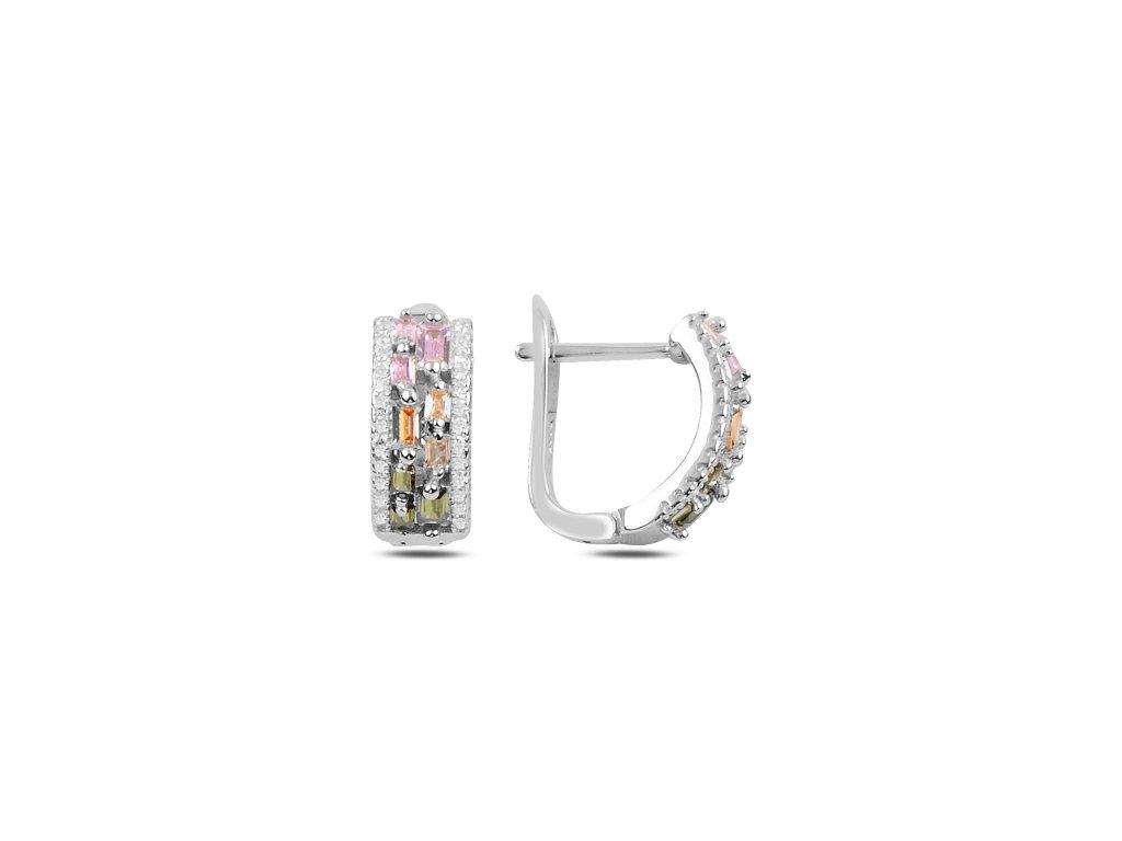 Stříbrné náušnice COLORS s vícebarevnými zirkony, luxusní dárek pro ženu.
