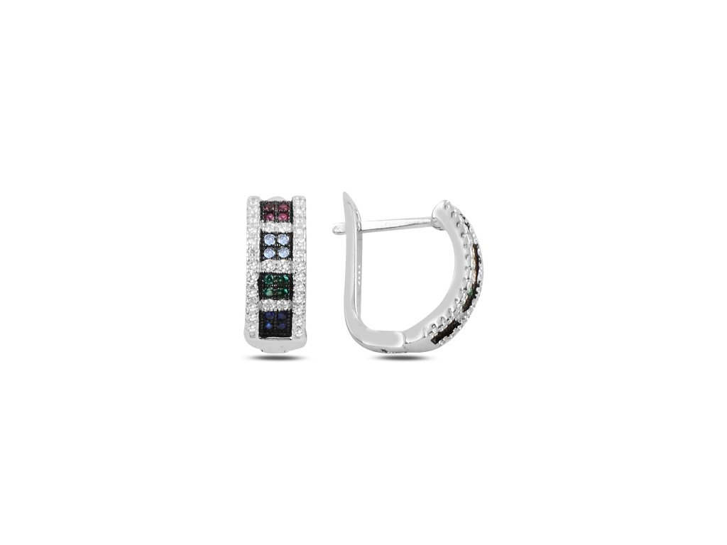 Stříbrné náušnice COLORS s vícebarevnými zirkony. Úžasný dárek pro ženu. Šperk ze stříbra.