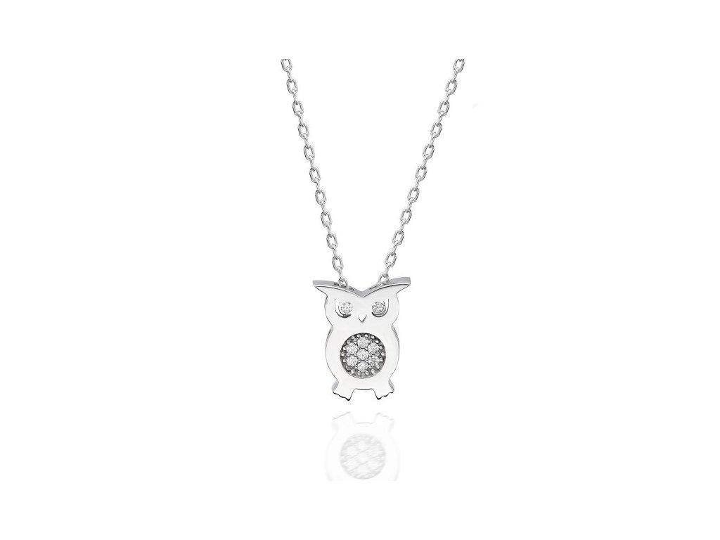 Stříbrný náhrdelník SOVA Swarovski OLIVIE
