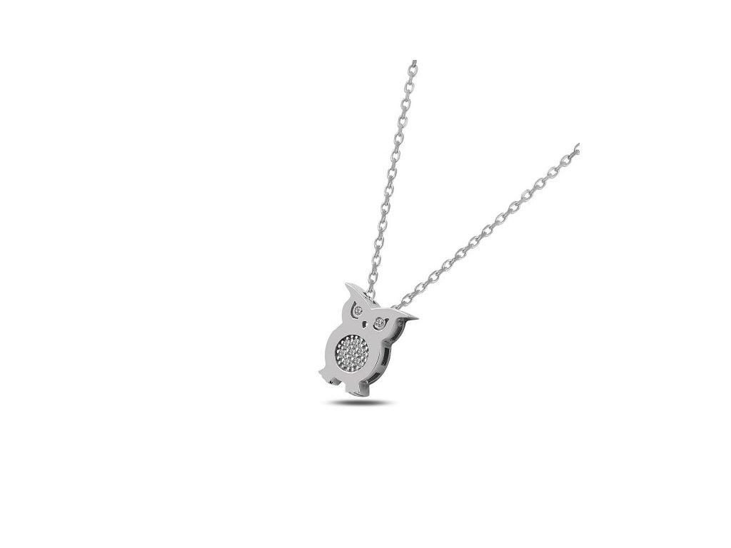 Stříbrný náhrdelník SOVA Swarovski