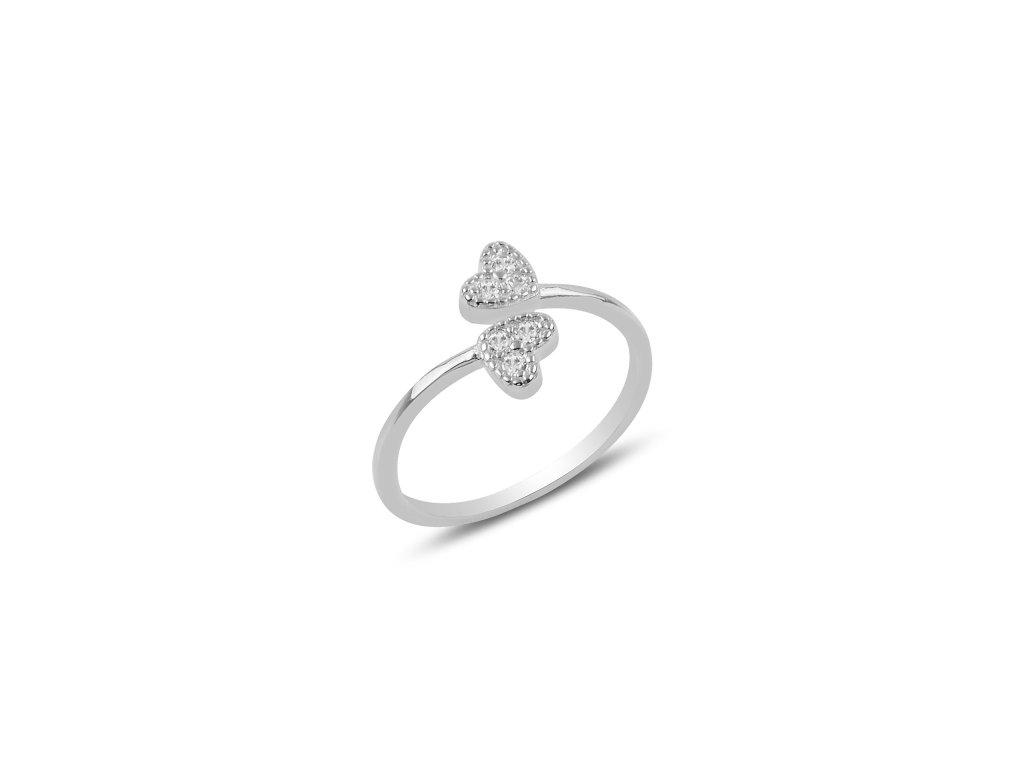 Stříbrný prsten DVĚ SRDÍČKA