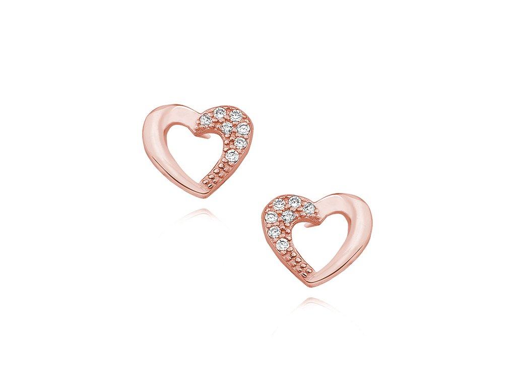 Stříbrné náušnice SRDCE ROSE růžově zlacené