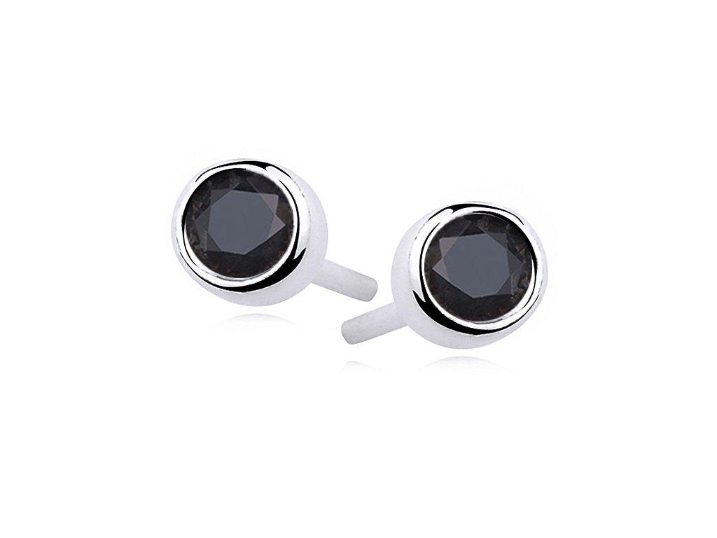 Stříbrné pecky BLACK černé náušnice