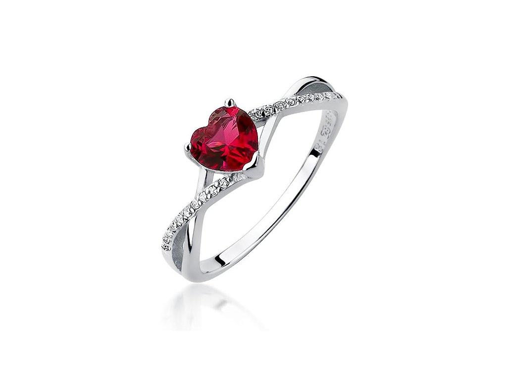 Stříbrný prsten SRDCE RUBY od OLIVIE.Rhodiovaný - pro větší odolnost, vyšší lesk a delší životnost.