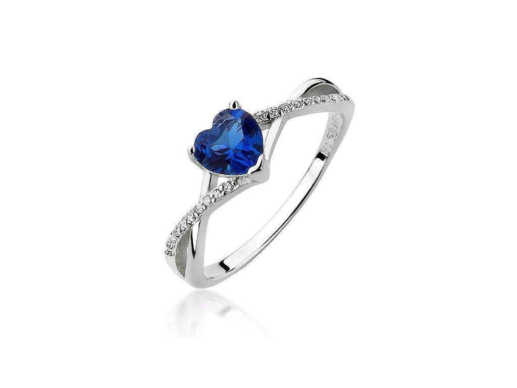 Stříbrný prsten MODRÉ SRDCE