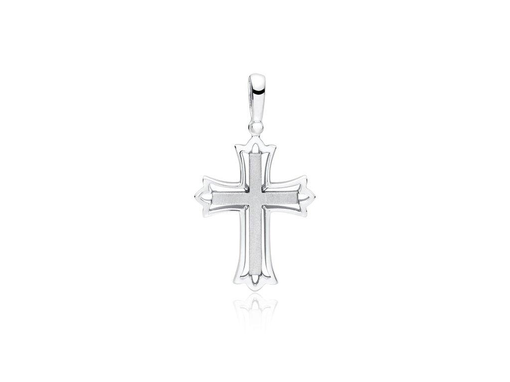 Stříbrný přívěsek 3cm KŘÍŽEK rhodiovaný pánský i dámský OLIVIE