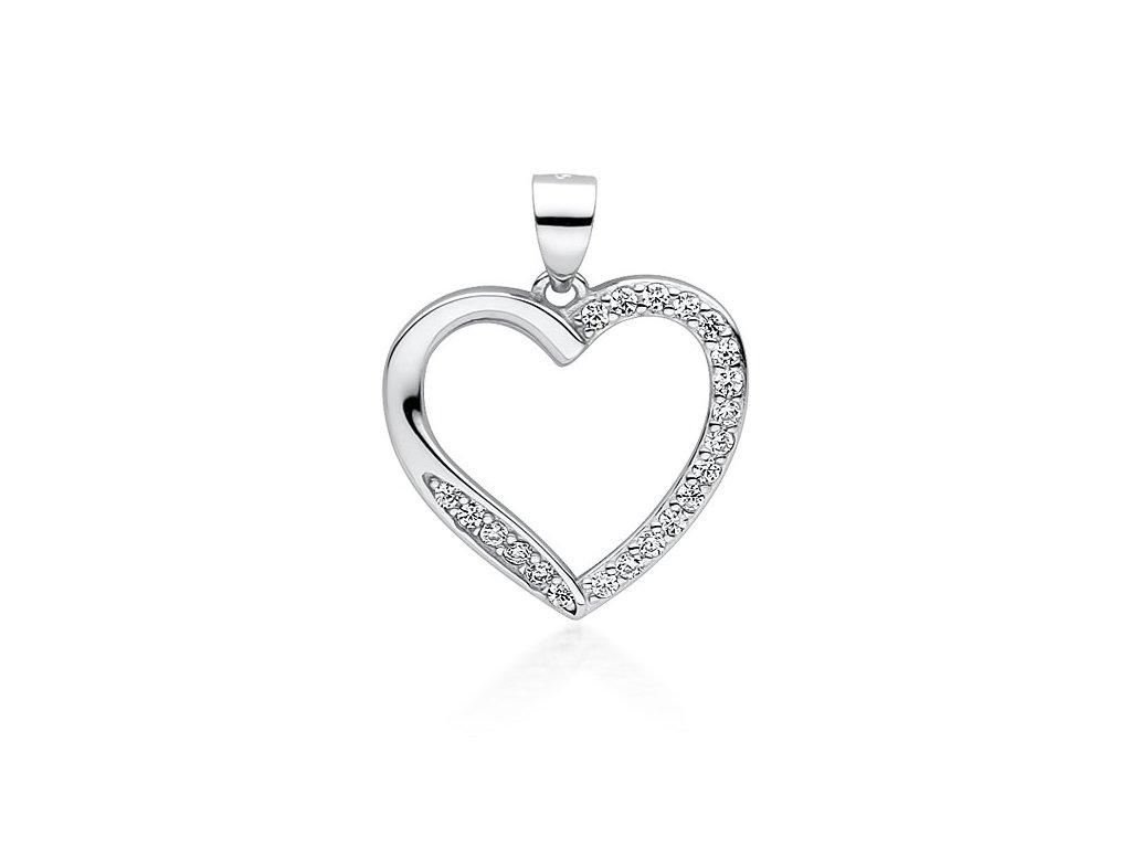 Stříbrný přívěsek ZIRKONOVÉ SRDCE, dárek z lásky pro ženu