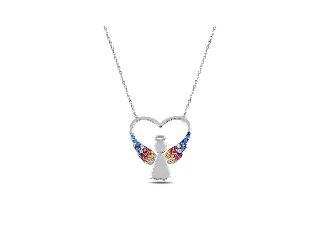 Stříbrný náhrdelník SRDCE S ANDĚLEM