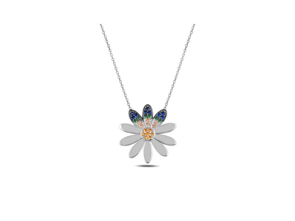 Stříbrný náhrdelník MODRÝ KVÍTEK