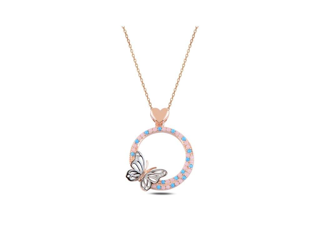 Něžný stříbrný náhrdelník MOTÝL ROSE