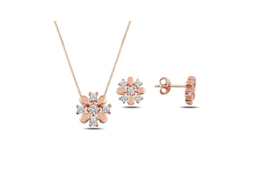Sada stříbrných šperků ROSE růžově zlacená