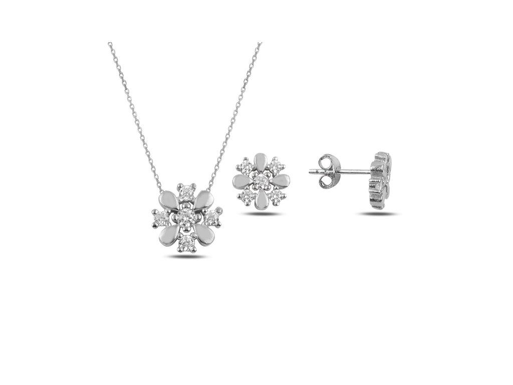 Květinová sada stříbrných šperků