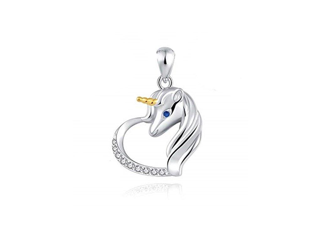 Stříbrný přívěsek JEDNOROŽEC V SRDCI, modré oko, zlatý roh