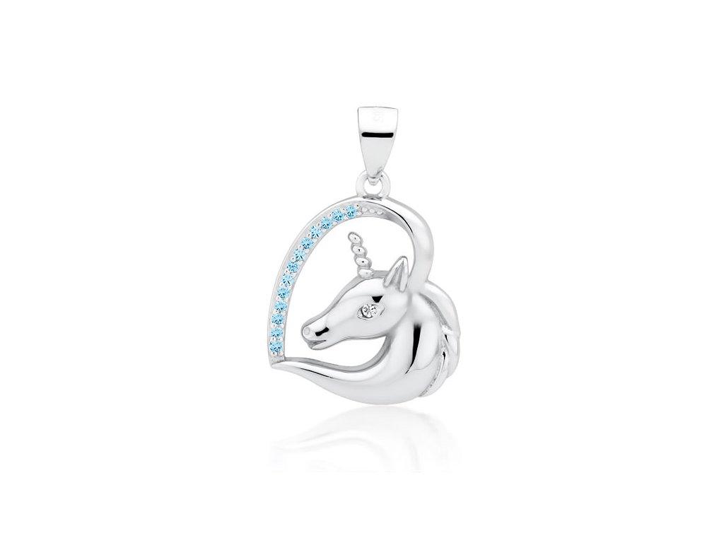 Stříbrný přívěsek JEDNOROŽEC V SRDCI modrý od OLIVIE