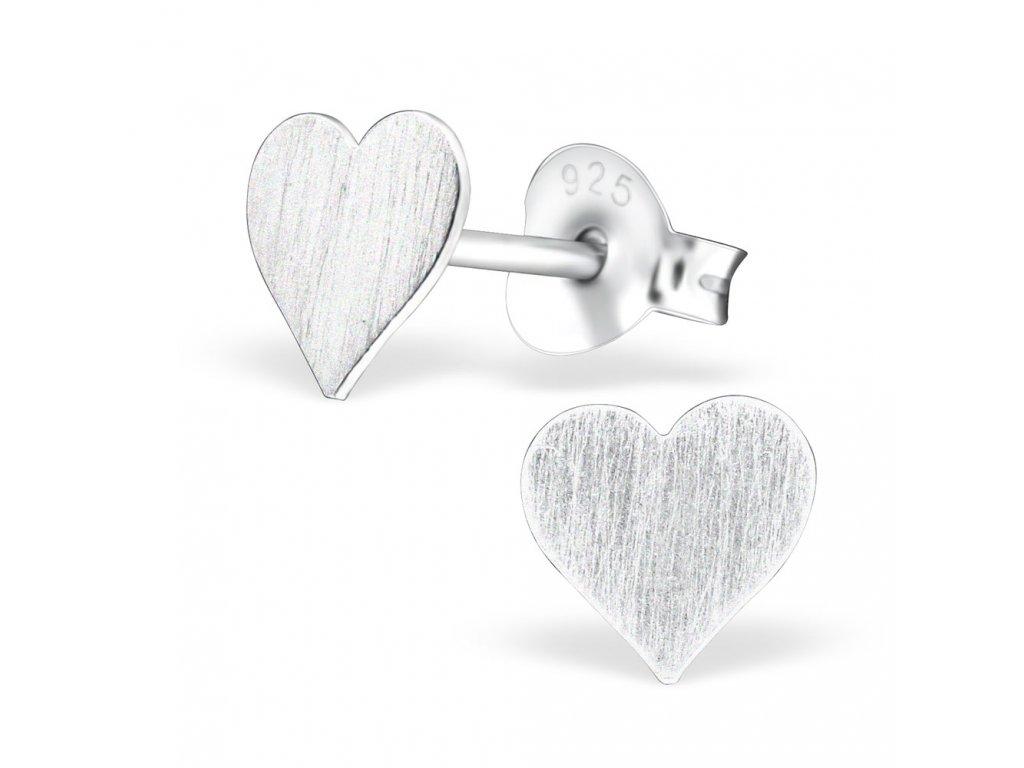 Stříbrné náušnice srdce