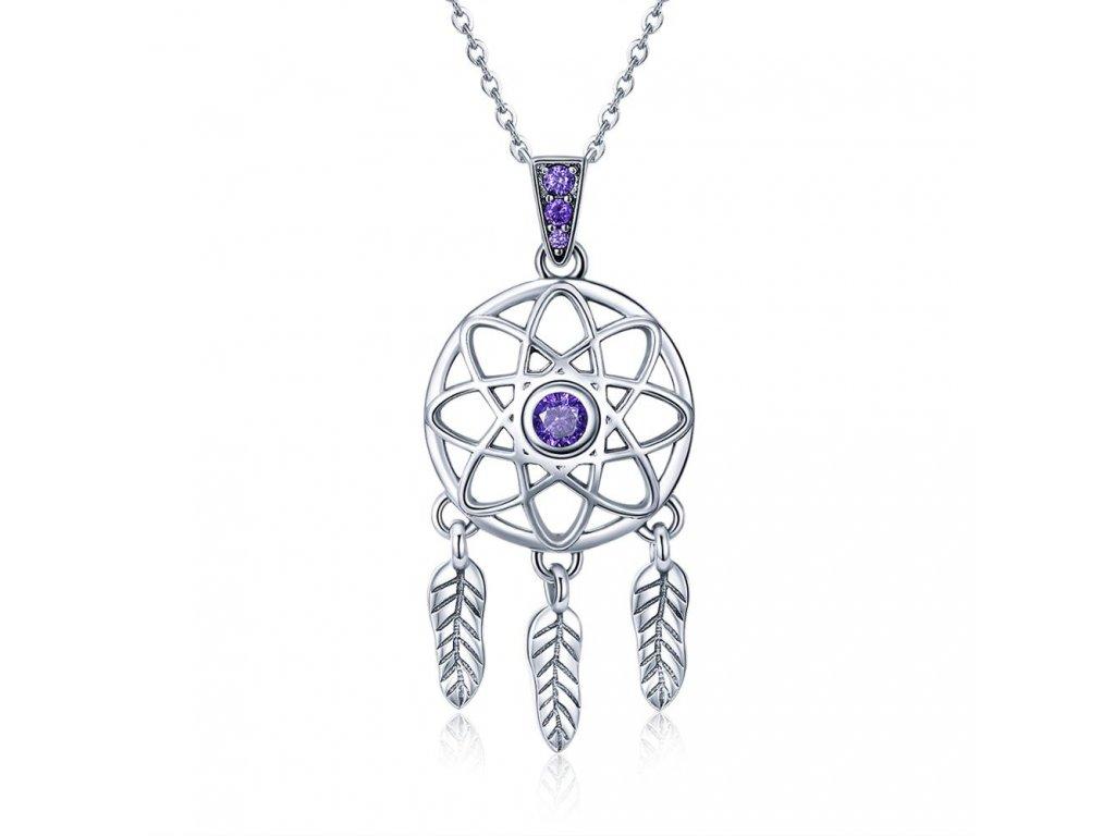 Stříbrný náhrdelník LAPAČ SNŮ fialové zirkony