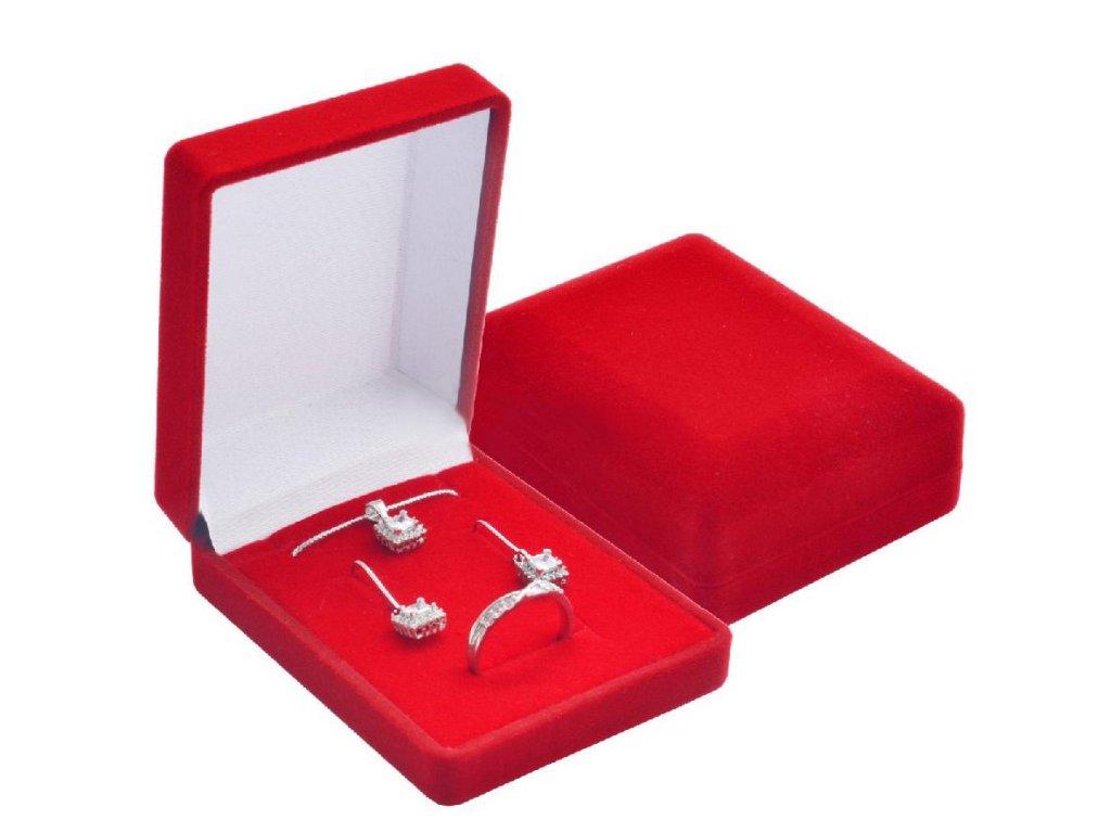 Dárková červená sametová krabička SADA