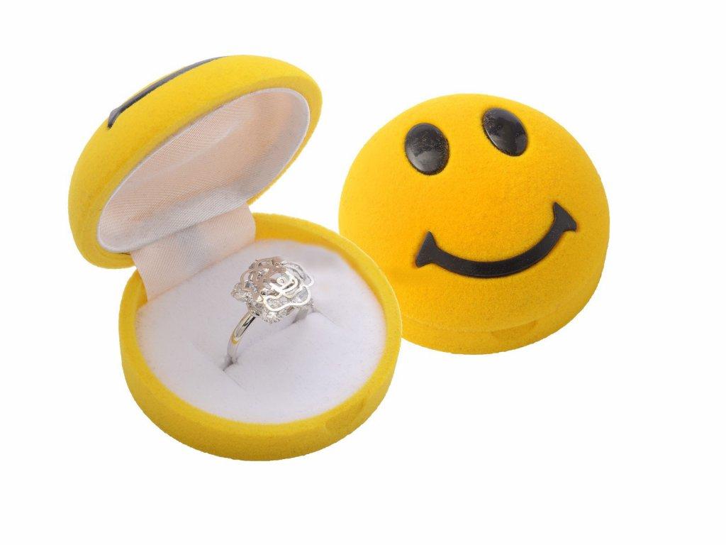 Dárková sametová krabička žlutý SMAJLÍK