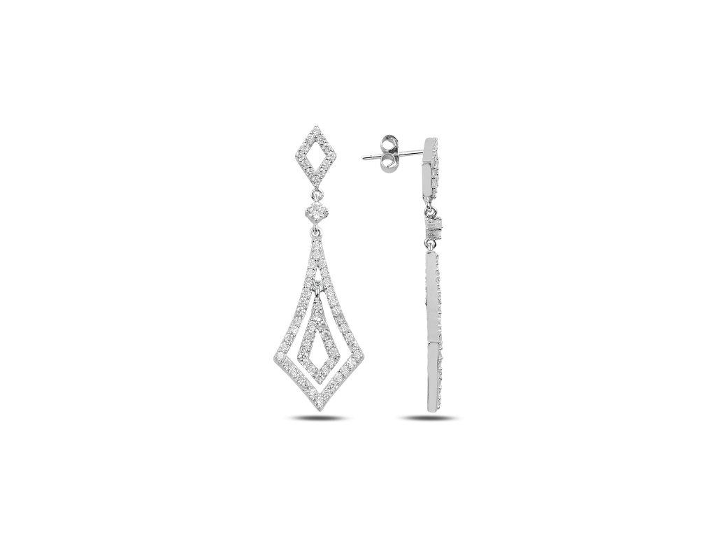 Svatební dlouhé stříbrné náušnice od OLIVIE pro nevěstu