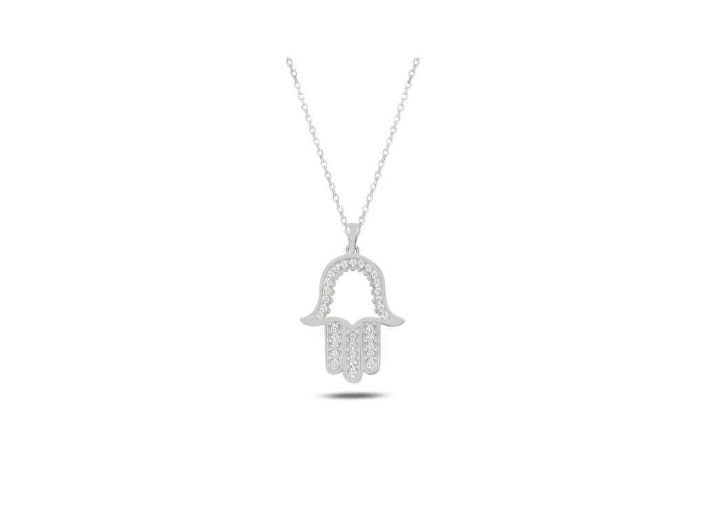 Stříbrný náhrdelník HAMSA od OLIVIE. Ochranný symbol.