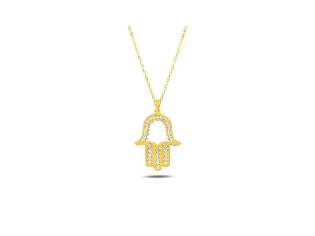 Stříbrný náhrdelník HAMSA GOLD pozlacený ochranný symbol