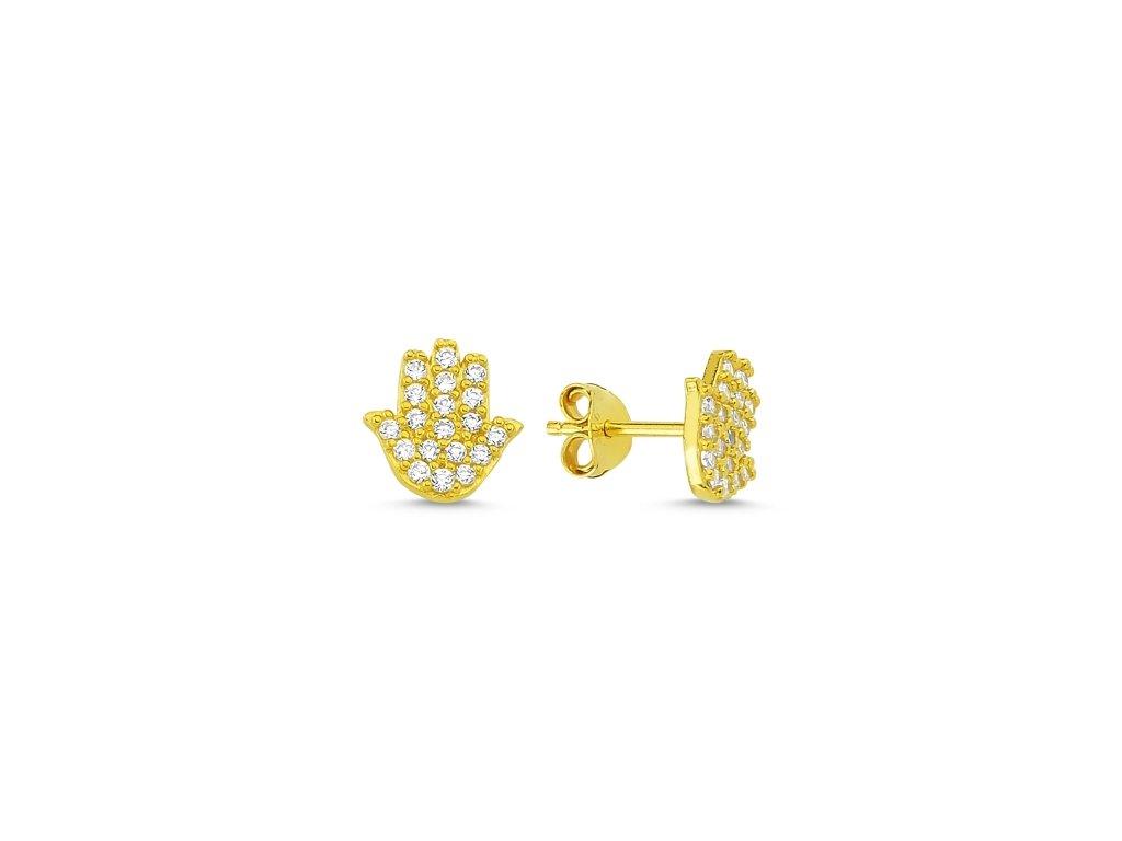 Stříbrné náušnice HAMSA GOLD zlacené, ochranný symbol
