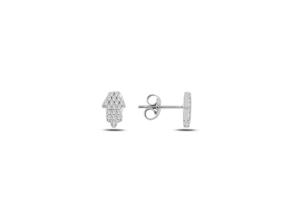 Stříbrné náušnice HAMSA ochranný symbol