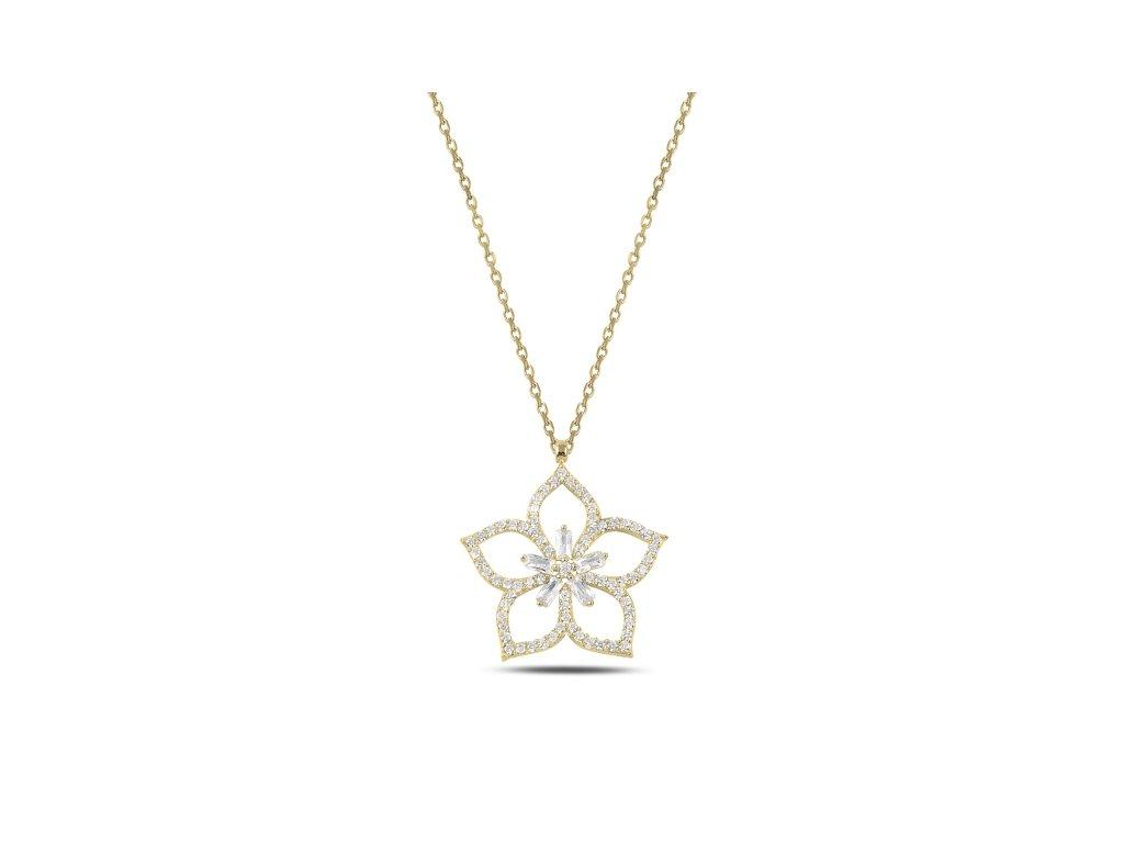 Stříbrný náhrdelník LOTOS GOLD zlacený
