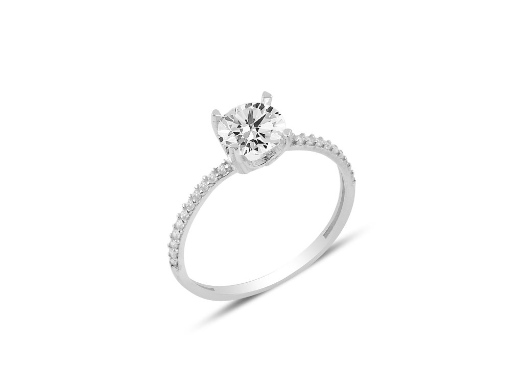 Stříbrný zásnubní prstýnek z lásky se zirkonem. Nejkrásnější dárek pro ženu. OLIVIE.