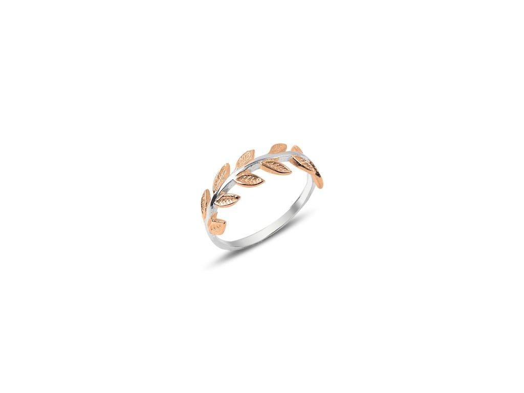 Stříbrný prstýnek LÍSTKY Z RŮŽÍ růžově zlacené