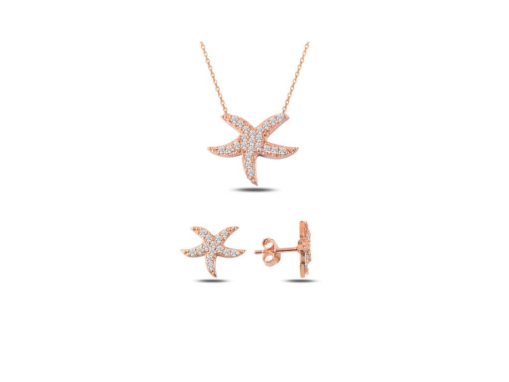 Sada stříbrných šperků HVĚZDICE ROSE růžově zlacené