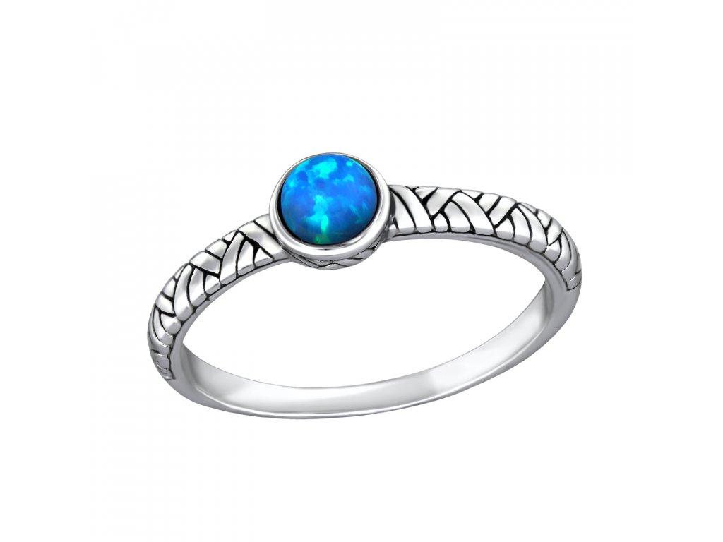 Stříbrný oxidovaný prsten OPÁL