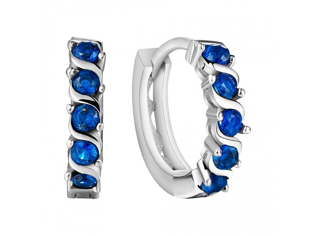 Stříbrné náušnice BLUE modré kroužky od OLIVIE