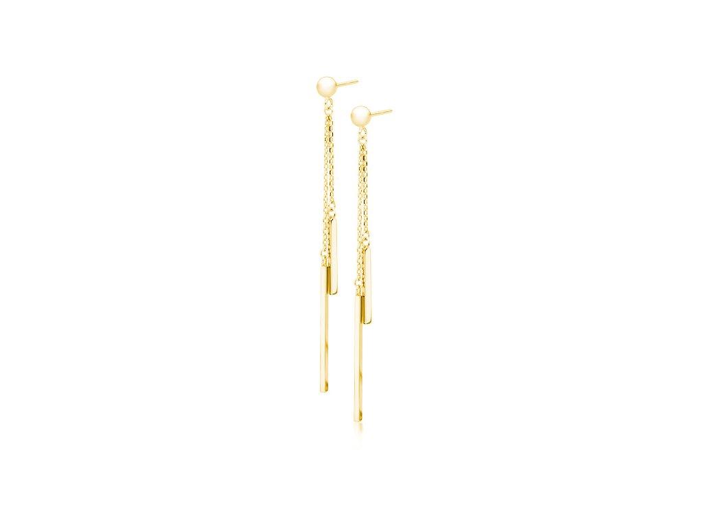 Stříbrné řetízkové dlouhé náušnice AIMEE GOLD zlacené