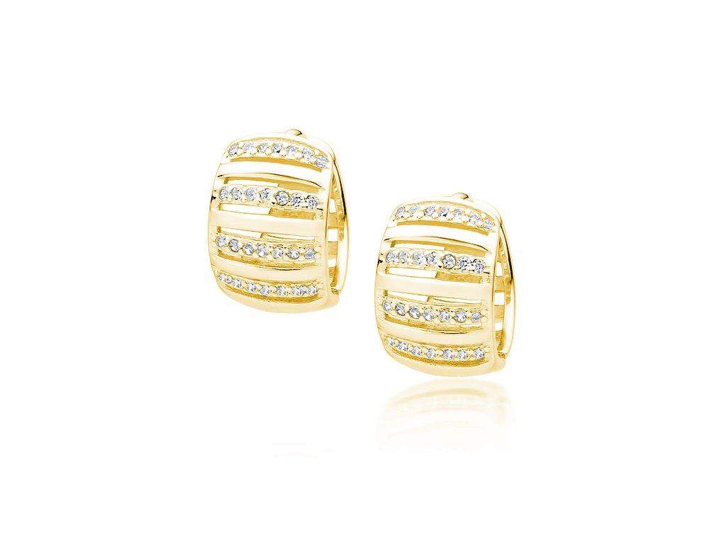 Luxusní stříbrné KRUHY GOLD zlacené se zirkony od OLIVIE
