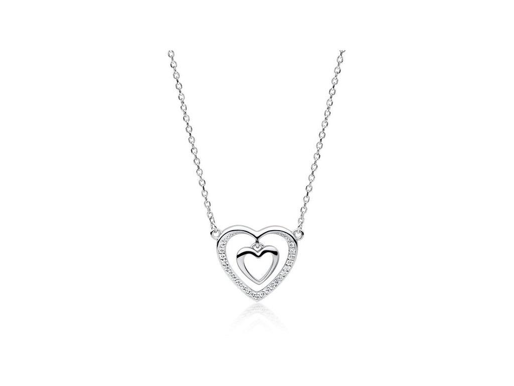 Stříbrný náhrdelník SRDCE V SRDCI od OLIVIE
