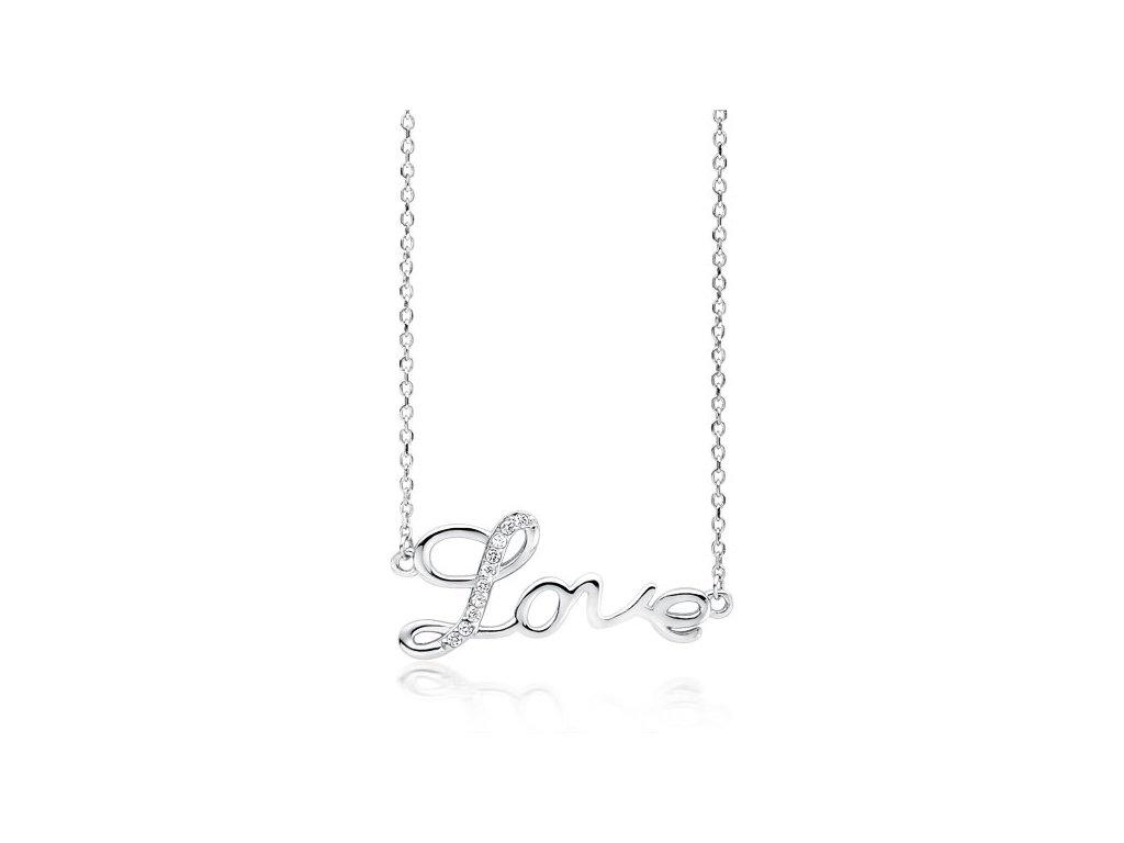 Stříbrný náhrdelník LOVE od OLIVIE řetízek LÁSKA