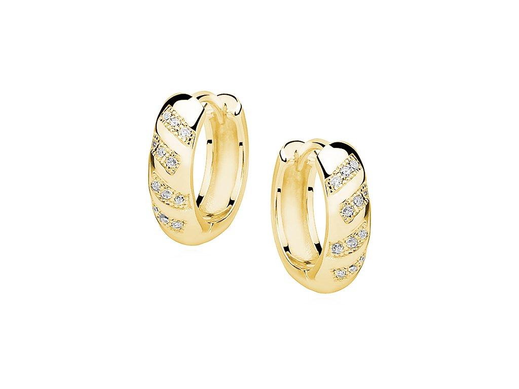 Stříbrné náušnice KRUHY GOLD pozlacené se zirkony