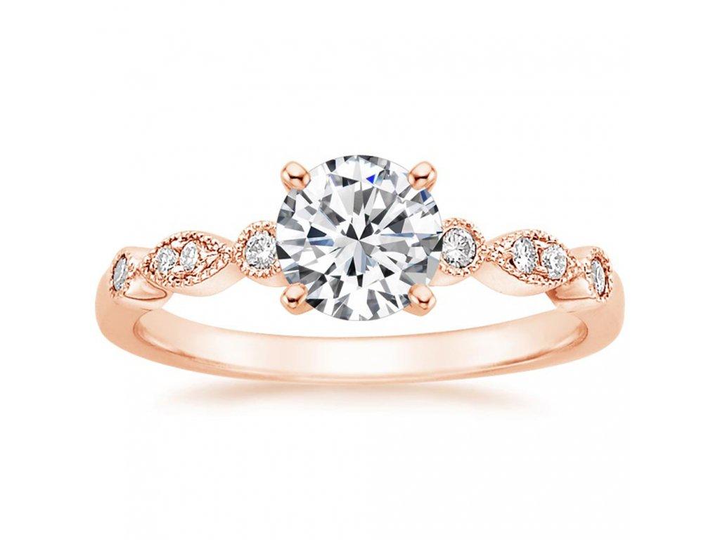 Stříbrný zásnubní prsten ROSE růžově zlacený od OLIVIE. Žádost o ruku. Dárek z lásky.