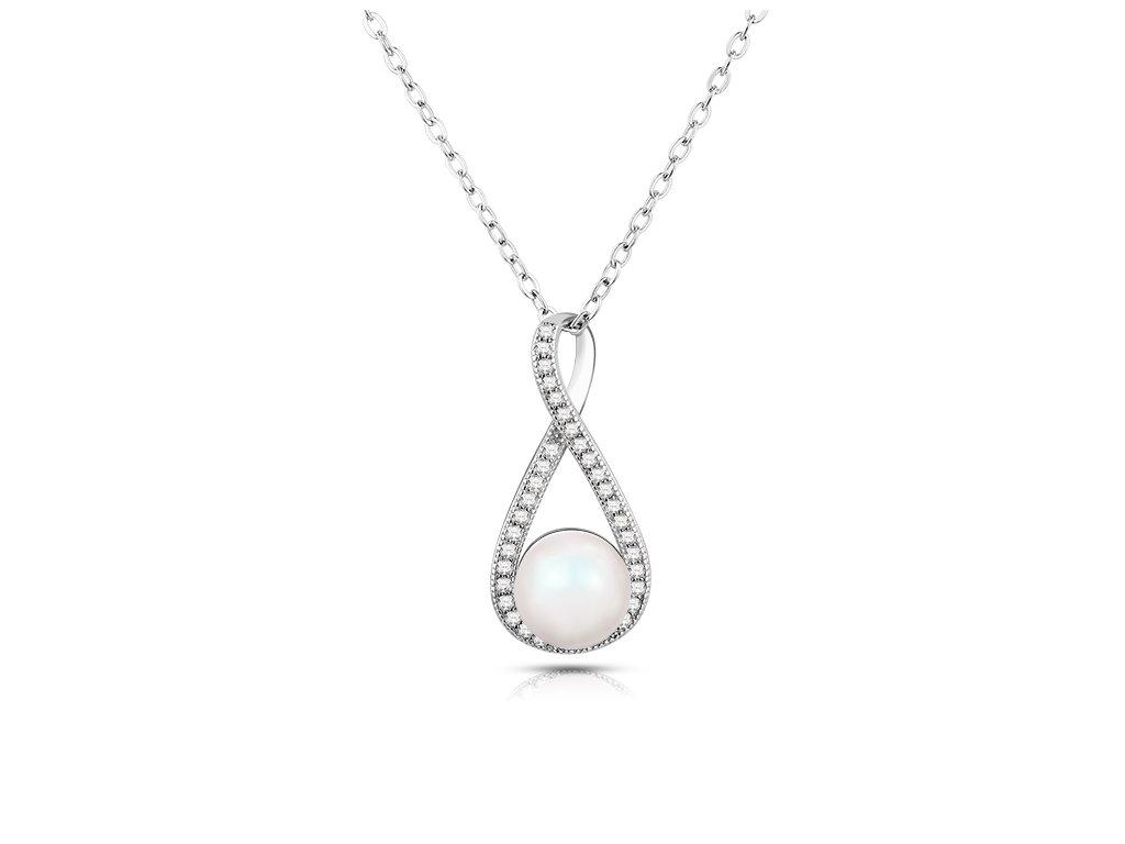 Stříbrný luxusní náhrdelník PERLA