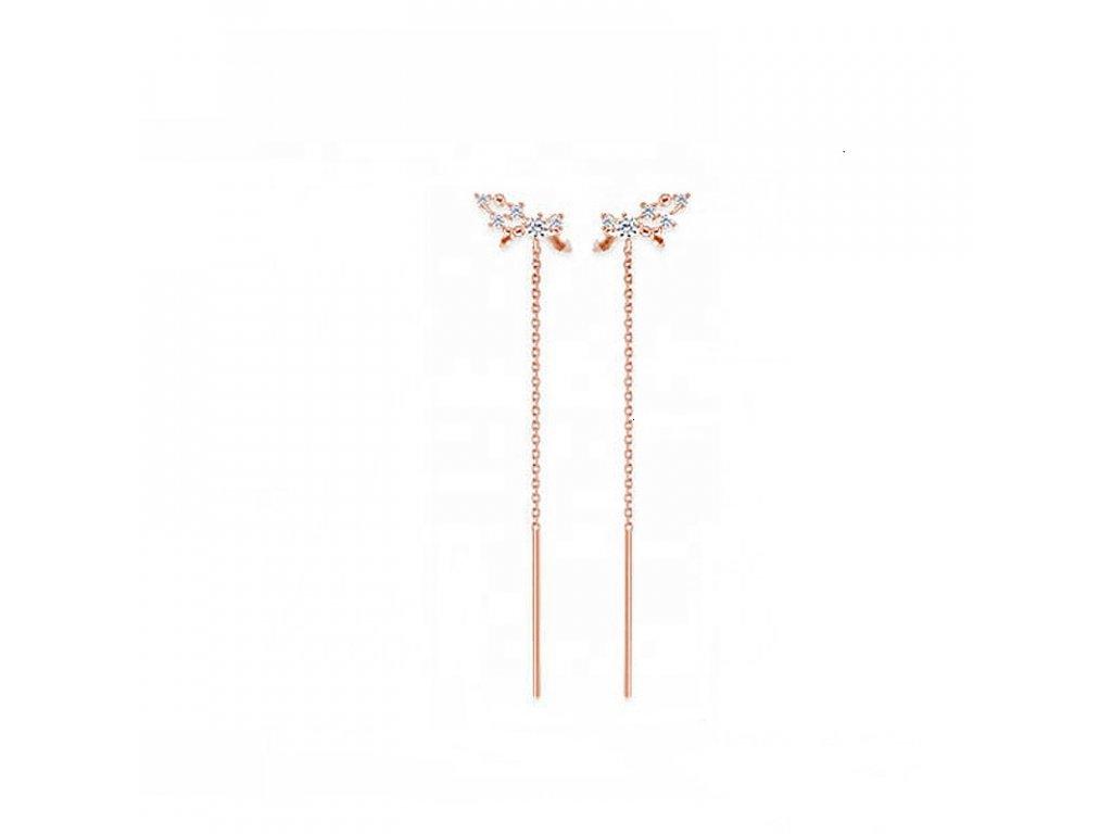 Stříbrné podélné náušnice ROSE růžově zlacené