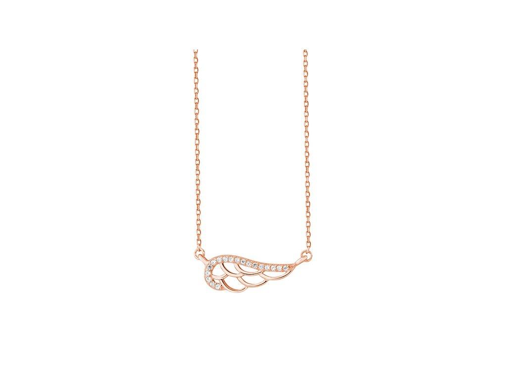 Stříbrný řetízek ANDĚLSKÉ KŘÍDLO ROSE růžově zlacené od OLIVIE