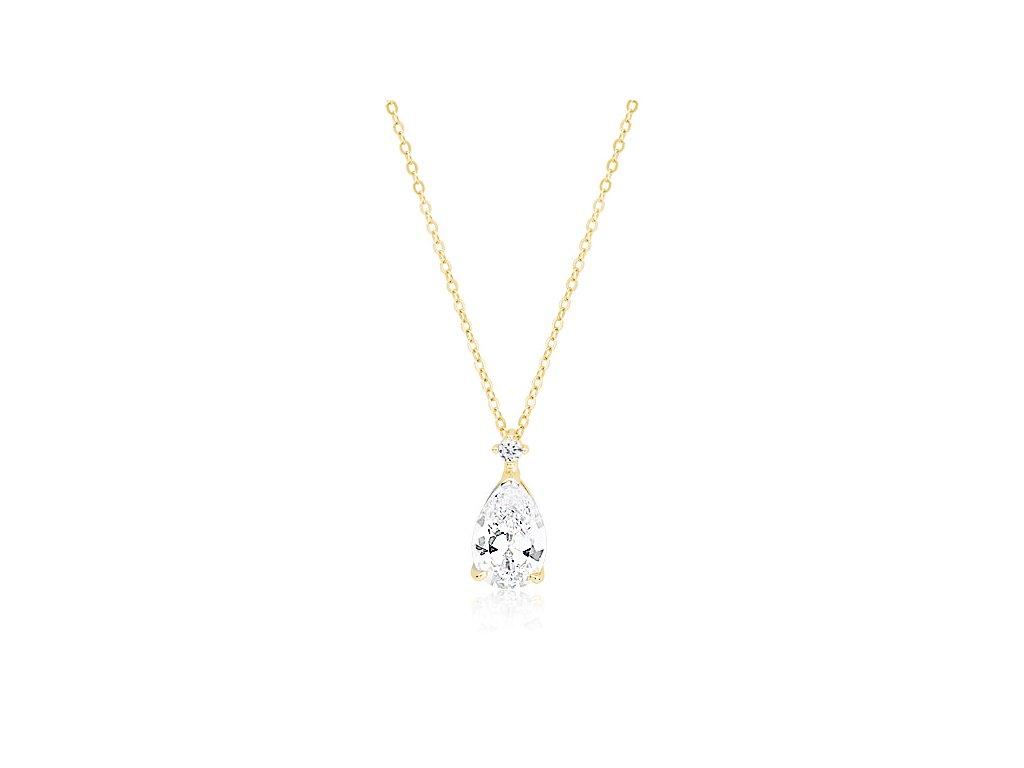 Stříbrný náhrdelník se zirkonem SLZA GOLD OLIVIE pozlacený