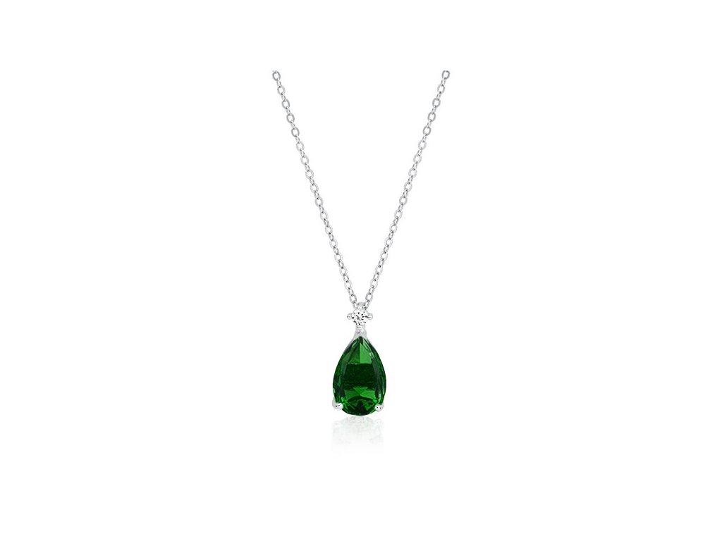 Stříbrný náhrdelník ZELENÁ SLZA od oLIVIE, krásný dárek pro ženu