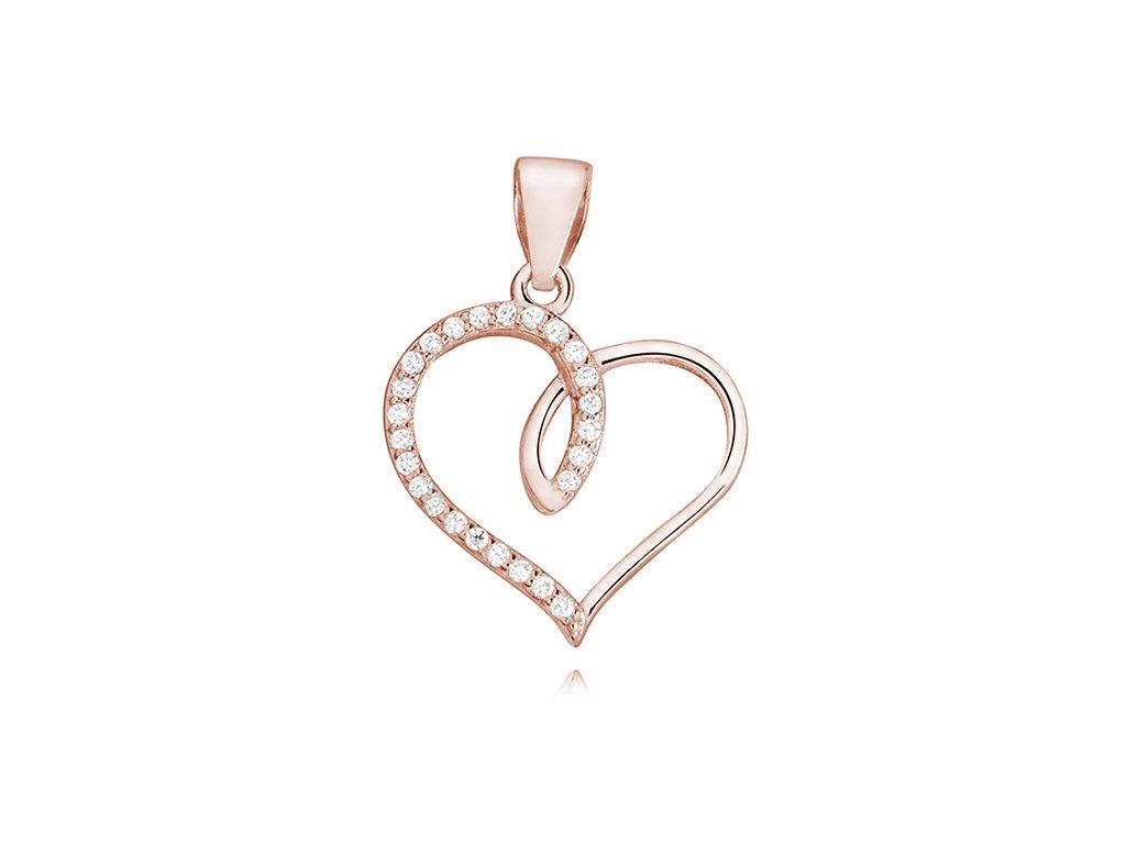 Stříbrný přívěsek SRDCE ROSE růžově zlacené OLIVIE