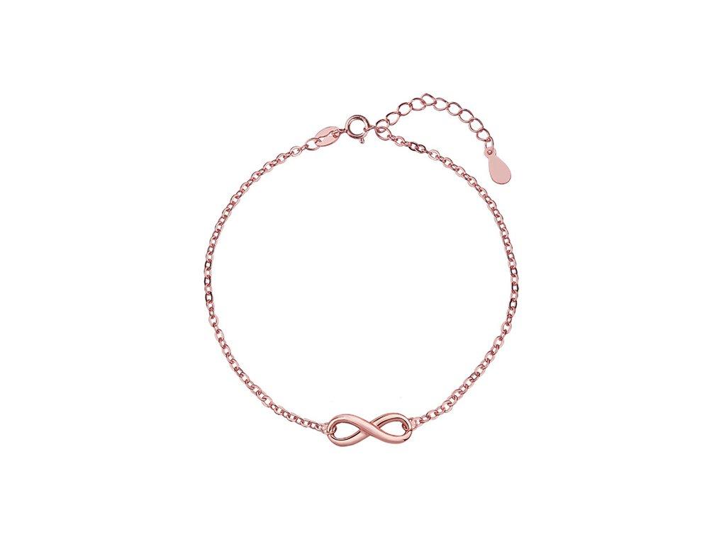 Stříbrný náramek NEKONEČNO ROSE růžově zlacený